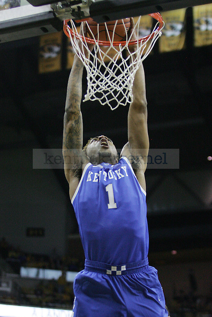 Kentucky Wildcats guard/forward James Young (1) dunks the ball during the first half of the game between the University of Kentucky men's basketball team and University of Missouri in Columbia, Mo.,on Saturday, February 1, 2014. Kentucky defeated Missouri 84-79. Photo by Michael Reaves | Staff
