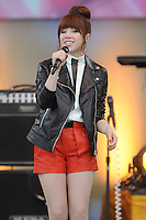 "NEW YORK, NY - JUNE 14: Recording artist Carly Rae Jepsen performs on ABC's ""Good Morning America"" at Rumsey Playfield on June 14, 2013 in New York City. (Photo by Celebrity Monitor)"