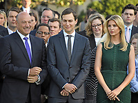 Director of the National Economic Council and chief economic advisor Gary Cohn, left, Senior Advisor to the President Jared Kushner, center, and Advisor to the President Ivanka Trump, right, await the arrival of United States President Donald J. Trump and first lady Melania Trump who will lead a moment of silence in remembrance of those lost on September 11, 2001 on the South Lawn of the White House in Washington, DC on Monday, September 11, 2017.<br /> CAP/MPI/CNP/RS<br /> &copy;RS/CNP/MPI/Capital Pictures