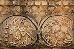 Israel, Sea of Galilee, pomegranates and grapes, a frieze from the Synagogue at Capernaum
