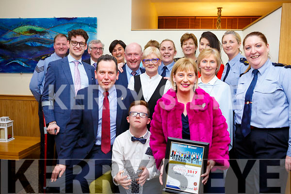 Dale Murphy from Listowel with his mom and dad, Paul and Claudette, and family and friends, who the overall winner at the Kerry Garda Lee Strand Youth Achievements Awards held in the Ballyroe Heights Hotel on Friday night last.