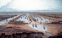 London: Historical View of West India Docks looking west, 1802. William Daniel.    Reference only.