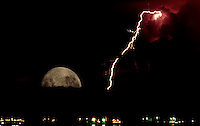 Lightning and Moonrise over Manila