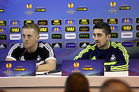 Wednesday 26 February 2014<br /> Pictured L-R: Manager Garry Monk and Pablo Hernandez during the press conference<br /> Re: Swansea City FC press conference and training at San Paolo in Naples Italy for their UEFA Europa League game against Napoli.