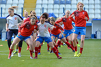 20190304 - LARNACA , CYPRUS : Warming up Czech Republic team  pictured during a women's soccer game between Czech Republic and South Africa , on Monday 4 March 2019 at the Antonis Papadopoulos Stadium in Larnaca , Cyprus . This is the third game in group A for Both teams during the Cyprus Womens Cup 2019 , a prestigious women soccer tournament as a preparation on the Uefa Women's Euro 2021 qualification duels. PHOTO SPORTPIX.BE | STIJN AUDOOREN