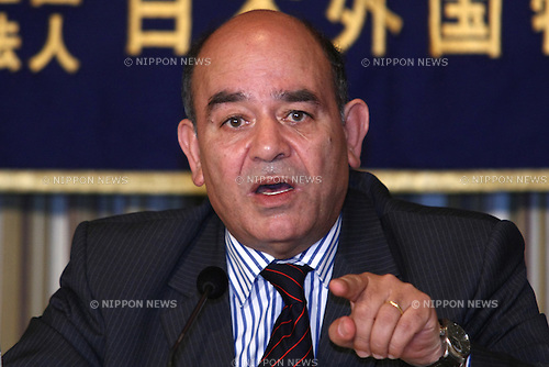 May 25, 2010 - Tokyo, Japan - Raji Sourani, Founder and Director of the Palestinian Center for Human Rights, delivers a speech during a press-conference hold at the Foreign Press Correspondent of Japan in Tokyo, May 25, 2010. He give detailed accounts of the situation in the Gaza Strip and the humanitarian crisis that has evolved as a result of the Israeli blockade of the last three years.