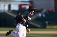 Oregon State Beavers catcher Adley Rutschman (35) rounds the bases after hitting a home run during a game against the Gonzaga Bulldogs on February 16, 2019 at Surprise Stadium in Surprise, Arizona. Oregon State defeated Gonzaga 9-3. (Zachary Lucy/Four Seam Images via AP)