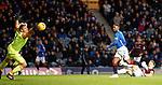 03.04.2019 Rangers v Hearts: Zdenek Zlamal saves from Jermain Defoe but the rebound falls to Scott Arfield to score