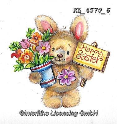 EASTER, OSTERN, PASCUA, paintings+++++,KL4570/6,#e#, EVERYDAY ,rabbit,rabbits ,sticker,stickers