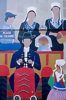 Europe/France/Bretagne/29/Finistère/Plougastel-Daoulas: Détail mur peint célébrant la Fraise de Plougastel-Daoulas