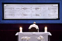 Pope Francis prays in front of the Holy Shroud,in the Cathedral during the Holy Shroud exhibition in Turin June 21, 2015