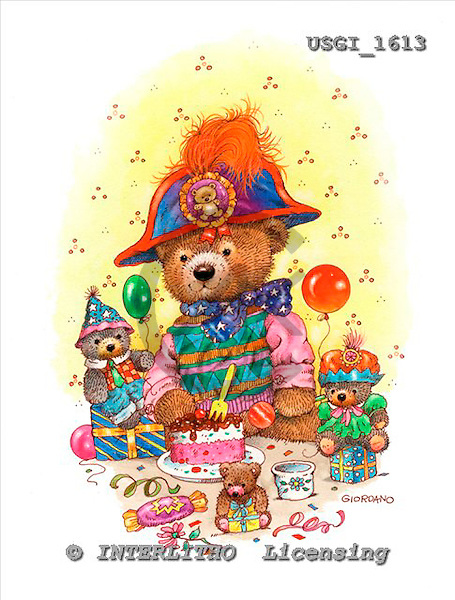 GIORDANO, CUTE ANIMALS, LUSTIGE TIERE, ANIMALITOS DIVERTIDOS, Teddies, paintings+++++,USGI1613,#AC# teddy bears