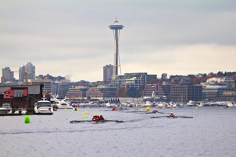 Rowing, Head of the Lake Regatta, November 2 2014, Seattle, Space Needle, Lake Union, Washington State, Lake Washington Rowing Club, Annual Regatta, Lake Washington Ship Canal,