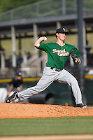Savannah Sand Gnats starting pitcher Ricky Knapp (11) delivers a pitch to the plate against the Hickory Crawdads at L.P. Frans Stadium on June 14, 2015 in Hickory, North Carolina.  The Crawdads defeated the Sand Gnats 8-1.  (Brian Westerholt/Four Seam Images)
