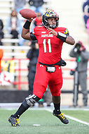 College Park, MD - October 27, 2018: Maryland Terrapins quarterback Kasim Hill (11) throws a pass during the game between Illinois and Maryland at  Capital One Field at Maryland Stadium in College Park, MD.  (Photo by Elliott Brown/Media Images International)