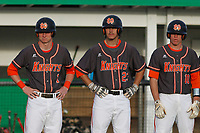 North Davidson High School Black Knights center fielder  Austin Beck (23)  before a game against the West Brunswick High School Trojans at Mike Alderson Field  on April 12, 2017 in Shallotte, North Carolina. North Davidson defeated West Brunswick 7-3. (Robert Gurganus/Four Seam Images)