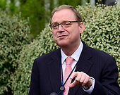 Kevin A. Hassett, Chairman, Council of Economic Advisers, Speaks to reporters on the North Driveway of the White House in Washington, DC on April 16, 2019.<br /> Credit: Ron Sachs / CNP