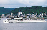 """The """"River Cloud"""" passing the medieval town of Boppard on the Rhine."""