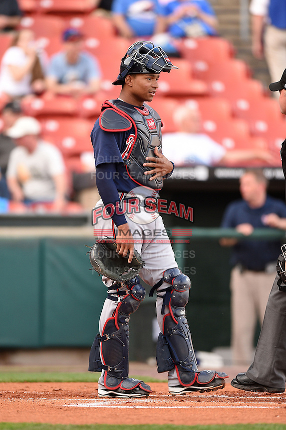 Gwinnett Braves catcher Christian Bethancourt (27) during a game against the Buffalo Bisons on May 13, 2014 at Coca-Cola Field in Buffalo, New  York.  Gwinnett defeated Buffalo 3-2.  (Mike Janes/Four Seam Images)