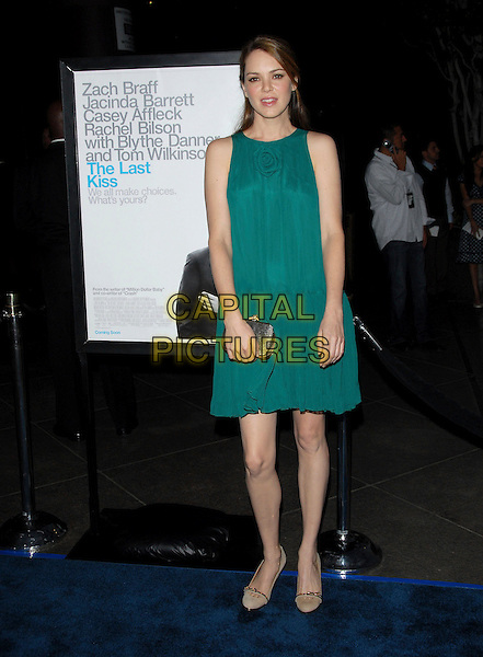 "JACINDA BARRETT.L.A. Premiere of ""The Last Kiss"" held at The DGA in West Hollywood, California, USA..September 13th, 2006.Ref: DVS.full length turquoise dress clutch purse.www.capitalpictures.com.sales@capitalpictures.com.©Debbie VanStory/Capital Pictures"