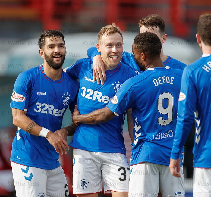 24.02.2019 Hamilton v Rangers: Scott Arfield celebrates his goal