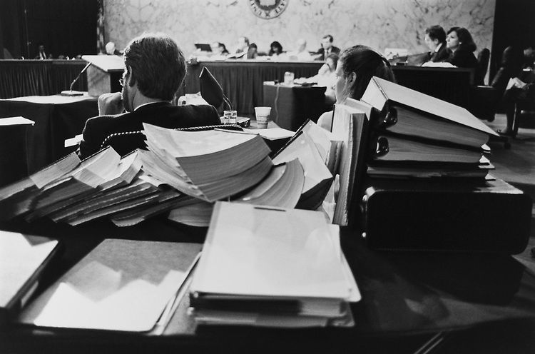 William Taylor and Leslie Burger (attorneys for Cranston) face the Senate Ethics Committee and listen to Ed Gary on Nov. 29, 1992. (Photo by Laura Patterson/CQ Roll Call via Getty Images)