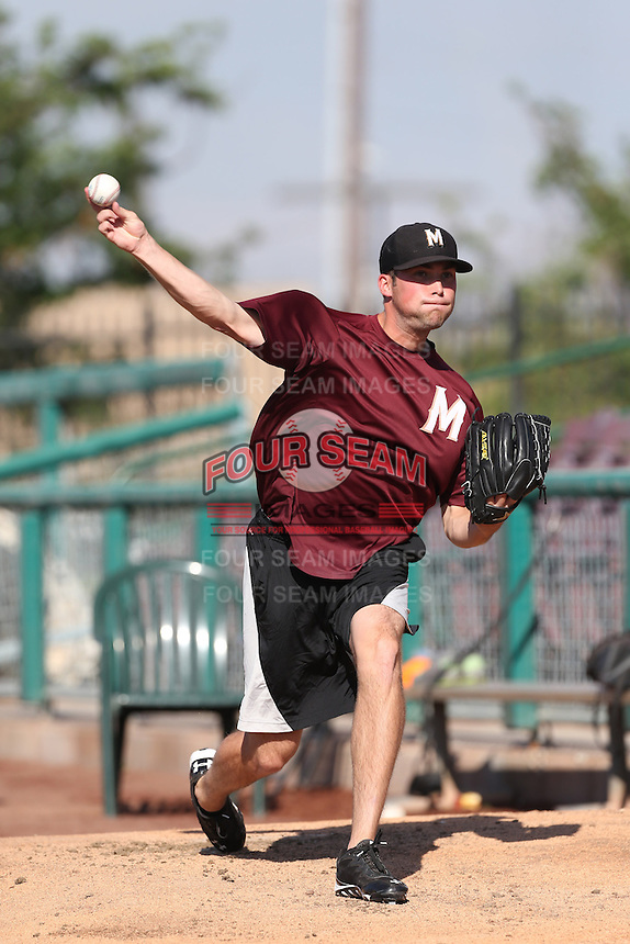 Shane Broyles #32 of the Modesto Nuts throws in the bullpen before a game against the Inland Empire 66ers at San Manuel Stadium on May 28, 2014 in San Bernardino, California. Modesto defeated Inland Empire, 3-2. (Larry Goren/Four Seam Images)