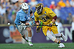 29 MAY 2011:  Tyler Granelli (34) of Salisbury University goes for the ball against Nick Rhoads (21) of Tufts University during the Division III Men's Lacrosse Championship held at M+T Bank Stadium in Baltimore, MD.  Salisbury defeated Tufts 19-7 for the national title. Larry French/NCAA Photos