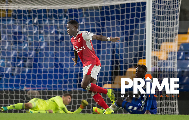 Stephy Mavididi of Arsenal celebrates the winning goal during the EPL2 - U23 - Premier League 2 match between Chelsea and Arsenal at Stamford Bridge, London, England on 23 September 2016. Photo by Andy Rowland.
