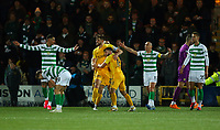 4th March 2020; Almondvale Stadium, Livingston, West Lothian, Scotland; Scottish Premiership Football, Livingston versus Celtic; Jon Guthrie of Livingston celebrates after he makes it 1-1 in the 24th minute while the Celtic players complain to the referee