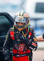 Apr 22, 2017; Baytown, TX, USA; NHRA top fuel driver Leah Pritchett during qualifying for the Springnationals at Royal Purple Raceway. Mandatory Credit: Mark J. Rebilas-USA TODAY Sports