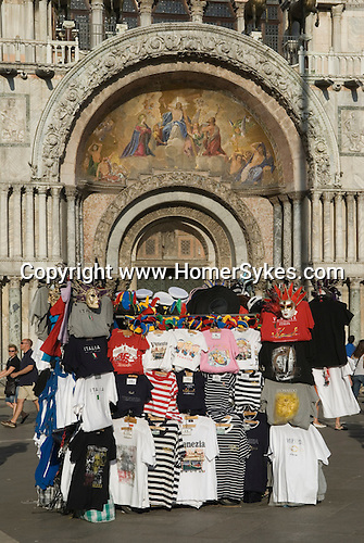 Venice Italy 2009. Tourists souvenier stall outside Basilica San Marco. Saint Marks Square Piazza San Marco.