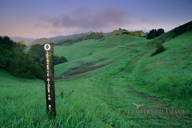 Green hills and trail sign in spring on Lafayette Ridge, Lafayette, CALIFORNIA