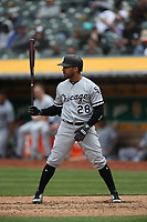 OAKLAND, CA - APRIL 18:  Leury Garcia #28 of the Chicago White Sox bats against the Oakland Athletics during the game at the Oakland Coliseum on Wednesday, April 18, 2018 in Oakland, California. (Photo by Brad Mangin)