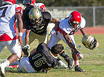 Palos Verdes, CA 10/27/17 - Dara Dowlatshahi (Peninsula #78) and Ethan Gretzinger (Pensinsula #15)in action during the Morningside Monarchs - Palos Verdes Peninsula Varsity football game at Peninsula High School.