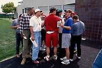 SANTA CLARA, CA:  Quarterback Steve Young of the San Francisco 49ers talks to the media after practice at the Marie P. DeBartolo Sports Centre in Santa Clara, California on May 2, 1997. (Photo by Brad Mangin)