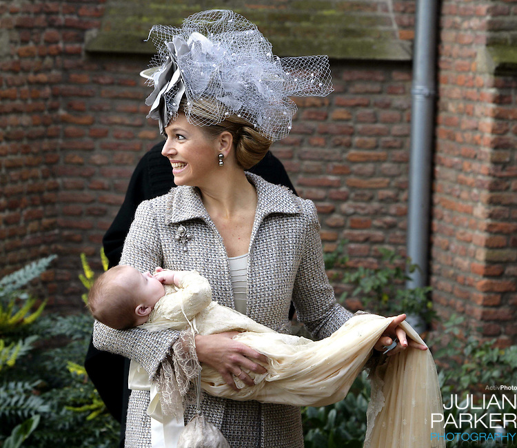 Crown Prince Willem-Alexander & Crown Princess Maxima attend the Christening of Princess Alexia of the Netherlands at the Dorpskerk in