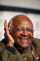 Archbishop Desmond Tutu during a press conferance with Oxfam. United Nations Climate Change Conference (COP15) was held at Bella Center in Copenhagen from the 7th to the 18th of December, 2009. A great deal of groups tried to voice their opinion and promote their cause in various ways. The conference and demonstrations was covered by thousands of photographers and journalists from all over the world...©Fredrik Naumann/Felix Features.