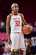 College Park, MD - NOV 16, 2016: Maryland Terrapins guard Shatori Walker-Kimbrough (32) collects herself before a free throw attempt during game between Maryland and Maryland Eastern Shore Lady Hawks at XFINITY Center in College Park, MD. The Terps defeated the Lady Hawks 106-61. (Photo by Phil Peters/Media Images International)