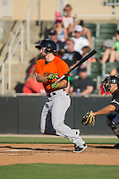 Seth Harrison (2) of the Augusta GreenJackets follows through on his swing against the Kannapolis Intimidators at Intimidators Stadium on May 30, 2016 in Kannapolis, North Carolina.  The GreenJackets defeated the Intimidators 5-3.  (Brian Westerholt/Four Seam Images)