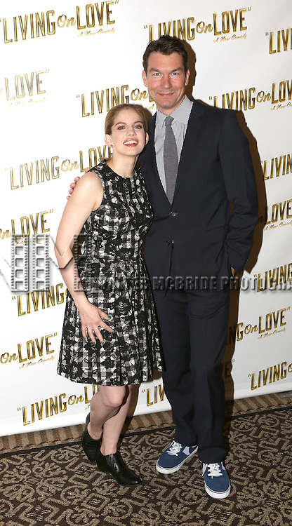 Anna Chlumsky and Jerry O'Connell attend the 'Living on Love' photo call at the Empire Hotel on March 12, 2015 in New York City.
