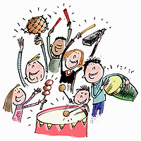 Children having fun playing musical percussion instruments