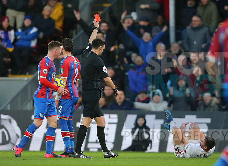 Crystal Palace's Joel Ward is shown a red card for a challenge on Sheffield United's Enda Stevens before it is overturned after a VAR review during the Premier League match at Selhurst Park, London. Picture date: 1st February 2020. Picture credit should read: Paul Terry/Sportimage