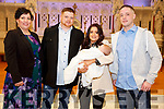 Baby Rhys with his parents Louise & John Foley, Listowel and god parents Kerryanne Scanlon & Terry Curtin who was christened in St. Mary's Church, Listowel by Canon Declan O'Connor on Saturday last.