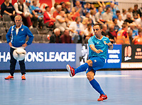 20191012 - HALLE: Halle-Gooik's Manoel Crema Bernardes is pictured shooting at the goal during the warm up at UEFA Futsal Champions League Main Round match between FP Halle-Gooik (BEL) and SL Benfica (POR) on 12th October 2019 at De Bres Sportcomplex, Halle, Belgium. PHOTO SPORTPIX | SEVIL OKTEM