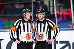 Stockholm 2014-03-21 Ishockey Kvalserien AIK - R&ouml;gle BK :  <br /> domare Mikael Holm och domare Marcus Linde <br /> (Foto: Kenta J&ouml;nsson) Nyckelord:  portr&auml;tt portrait domare referee ref