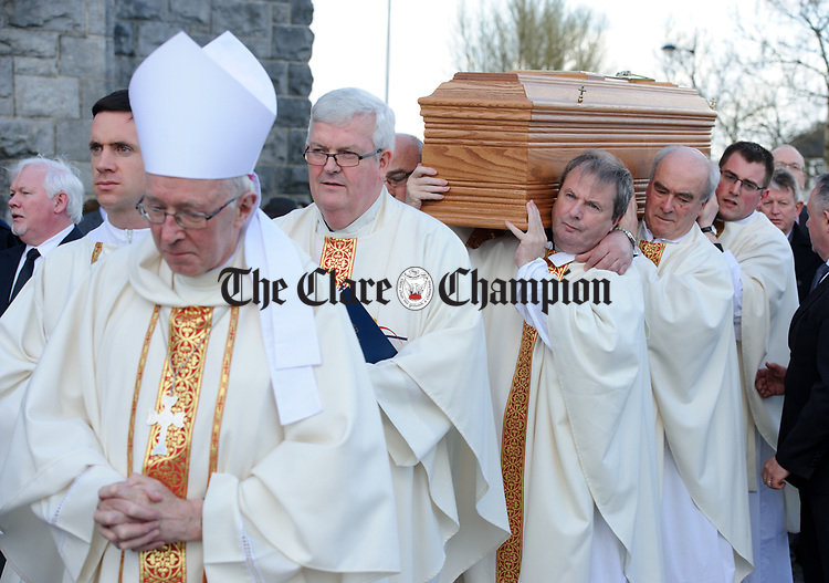 The coffin is carried from the cathedral to a crypt, led by Bishop John Kirby, Bishop of Clonfert and by priests including Fr Tommy Marrinan, PP Gort, at front, following the funeral mass of Bishop Eamonn Casey in Galway. Photograph by John Kelly.