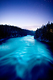 USA, Wyoming, Yellowstone River at night, Yellowstone National Park