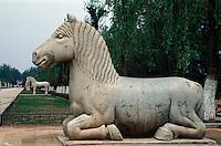 China, Peking (Beijing) Minggräber, Geisterallee, Pferd, Unesco-Weltkulturerbe