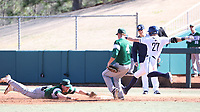 CARY, NC - FEBRUARY 23: Matt Wood #27 of Penn State University is called safe at first base as the umpire ruled he beat the tag by Tyler Sanfilippo #8 of Wagner College during a game between Wagner and Penn State at Coleman Field at USA Baseball National Training Complex on February 23, 2020 in Cary, North Carolina.